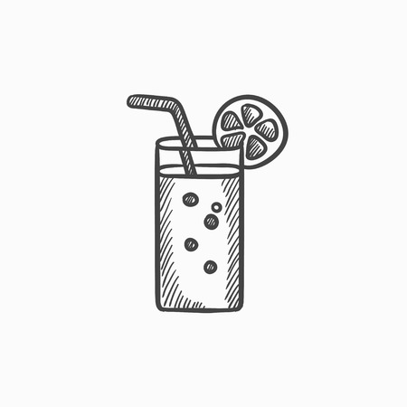 drinking straw: Glass with drinking straw vector sketch icon isolated on background. Hand drawn Glass with drinking straw icon. Glass with drinking straw sketch icon for infographic, website or app.