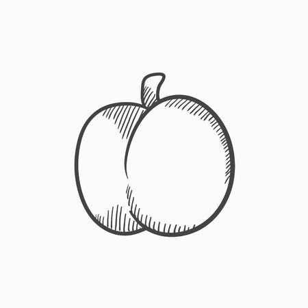 ripened: Plum with leaf vector sketch icon isolated on background. Hand drawn Plum with leaf icon. Plum with leaf sketch icon for infographic, website or app.