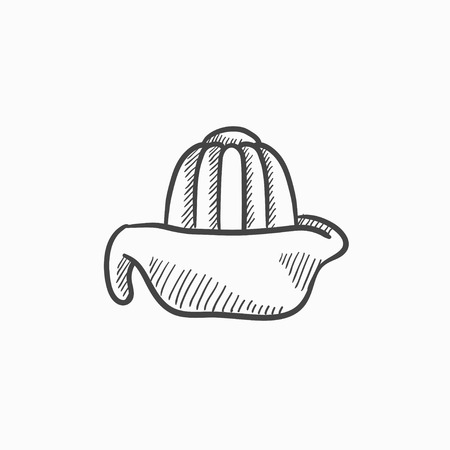 citric: Lemon squeezer vector sketch icon isolated on background. Hand drawn Lemon squeezer icon. Lemon squeezer sketch icon for infographic, website or app.