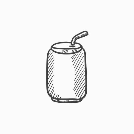 aluminum: Soda can with drinking straw vector sketch icon isolated on background. Hand drawn Soda can with drinking straw icon. Soda can with drinking straw sketch icon for infographic, website or app.