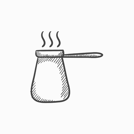 turk: Coffee turk vector sketch icon isolated on background. Hand drawn Coffee turk icon. Coffee turk sketch icon for infographic, website or app. Illustration