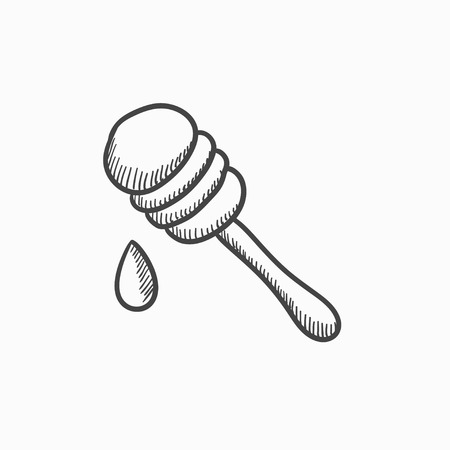 dense: Honey dipper vector sketch icon isolated on background. Hand drawn Honey dipper icon. Honey dipper sketch icon for infographic, website or app.
