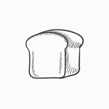 背景に分離されたパン ベクター スケッチ アイコンの半分。手描きパン アイコンの半分です。パンの半分は、インフォ グラフィック、web サイトま