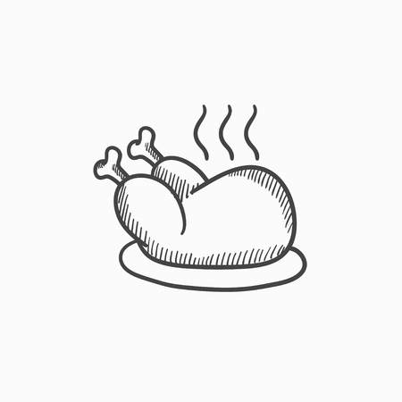 whole chicken: Baked whole chicken vector sketch icon isolated on background. Hand drawn Baked whole chicken icon. Baked whole chicken sketch icon for infographic, website or app.