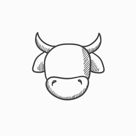 Koehoofd vector schets pictogram op een achtergrond. Hand getrokken Koe hoofd icoon. Koehoofd schets pictogram voor infographic, website of app. Vector Illustratie
