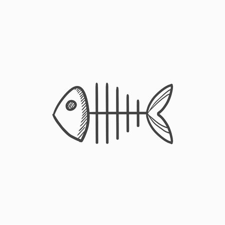 Fish skeleton vector sketch icon isolated on background. Hand drawn Fish skeleton icon. Fish skeleton sketch icon for infographic, website or app.