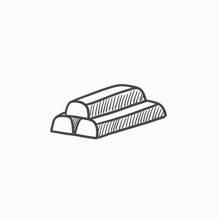 silver bullion: Golden bars vector sketch icon isolated on background. Hand drawn Golden bars icon. Golden bars sketch icon for infographic, website or app.