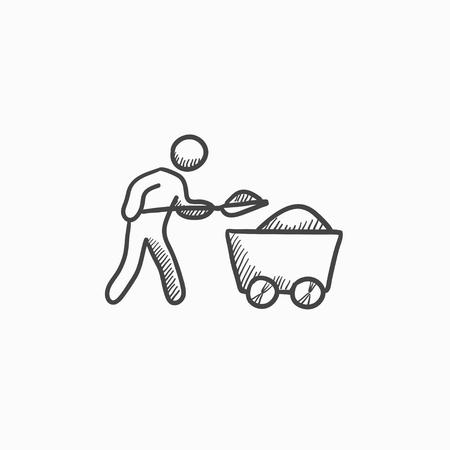 Mining worker with trolley vector sketch icon isolated on background. Hand drawn Mining worker with trolley icon. Mining worker with trolley sketch icon for infographic, website or app. Illustration