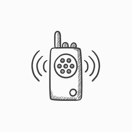 Radio définie l'icône de croquis de vecteur isolé sur fond. Icône de jeu radio dessinés à la main. Icône de croquis de radio set pour infographie, site web ou application. Banque d'images - 61195658