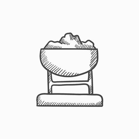Mine trolley vol kolen vector schets pictogram op een achtergrond. Hand getrokken Mine trolley vol kolen icoon. Mine trolley vol kolen schets pictogram van infographic, website of app. Stock Illustratie