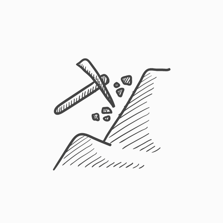heavy industry: Mining vector sketch icon isolated on background. Hand drawn Mining icon. Mining sketch icon for infographic, website or app. Illustration