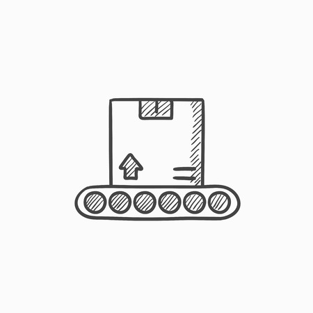 parcels: Conveyor belt for parcels vector sketch icon isolated on background. Hand drawn Conveyor belt for parcels icon. Conveyor belt for parcels sketch icon for infographic, website or app. Illustration