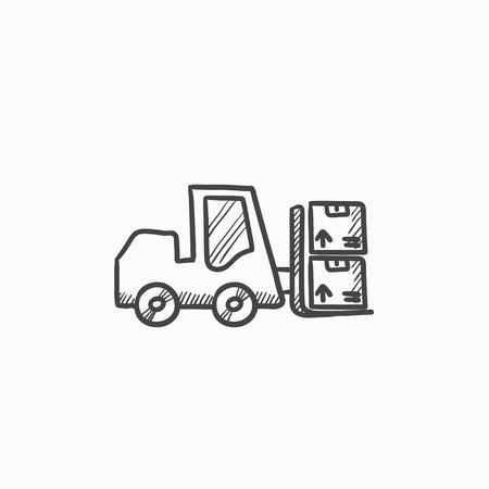 picking up: Forklift vector sketch icon isolated on background. Hand drawn Forklift icon. Forklift sketch icon for infographic, website or app. Illustration