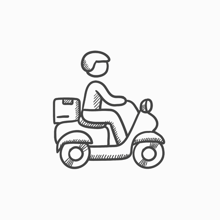 man carrying: Man carrying goods on bike vector sketch icon isolated on background. Hand drawn Man carrying goods on bike icon. Man carrying goods on bike sketch icon for infographic, website or app.