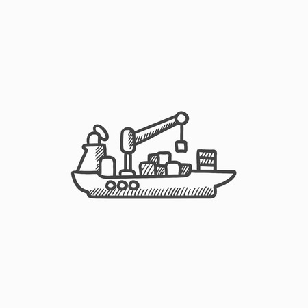 loading dock: Cargo container ship vector sketch icon isolated on background. Hand drawn Cargo container ship icon. Cargo container ship sketch icon for infographic, website or app. Illustration