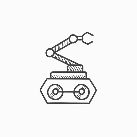 conveyor system: Industrial mechanical robot arm vector sketch icon isolated on background. Hand drawn Industrial mechanical robot arm icon. Industrial mechanical robot arm sketch icon for infographic, website or app. Illustration