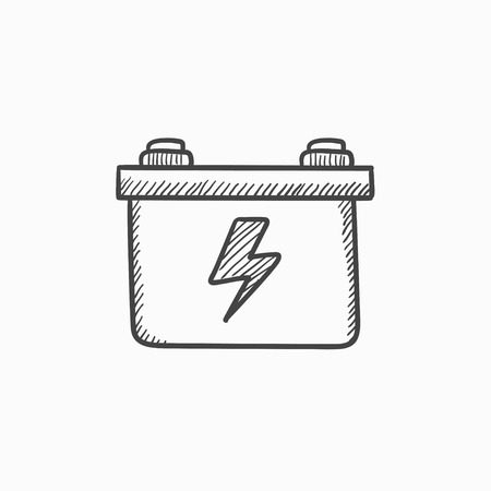 amperage: Car battery vector sketch icon isolated on background. Hand drawn Car battery icon. Car battery sketch icon for infographic, website or app.