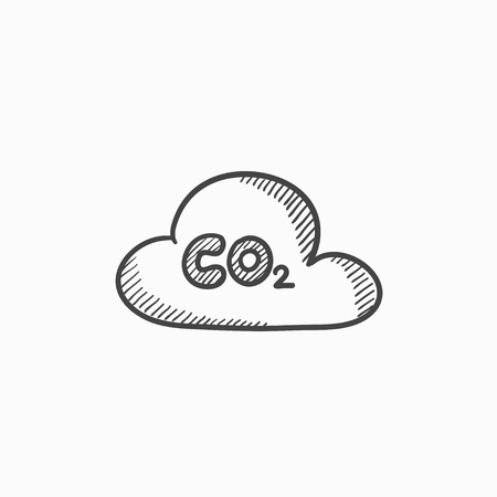 atmospheric: CO2 sign in cloud vector sketch icon isolated on background. Hand drawn CO2 sign in cloud icon. CO2 sign in cloud sketch icon for infographic, website or app.