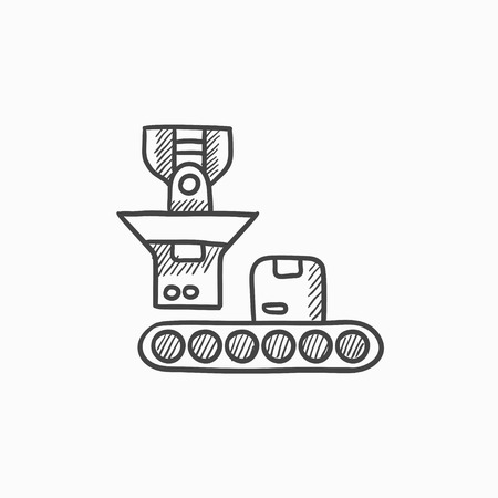 packaging icon: Robotic packaging vector sketch icon isolated on background. Hand drawn Robotic packaging icon. Robotic packaging sketch icon for infographic, website or app.