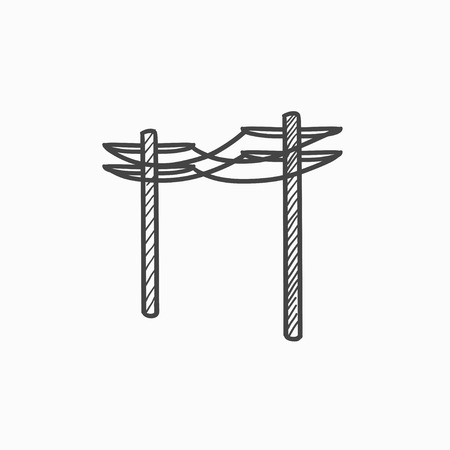 lighting column: High voltage power lines vector sketch icon isolated on background. Hand drawn High voltage power lines icon. High voltage power lines sketch icon for infographic, website or app. Illustration