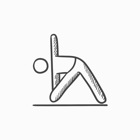 A man meditating in triangle pose vector sketch icon isolated on background. Hand drawn man meditating in triangle pose icon. A man in triangle pose sketch icon for infographic, website or app. Illustration