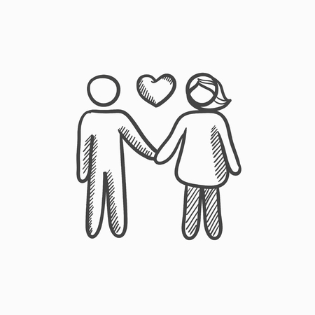 Couple in love vector sketch icon isolated on background. Hand drawn Couple in love icon. Couple in love sketch icon for infographic, website or app. Vectores