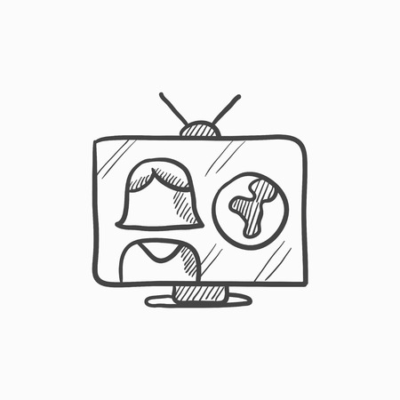 report icon: TV report vector sketch icon isolated on background. Hand drawn TV report icon. TV report sketch icon for infographic, website or app.