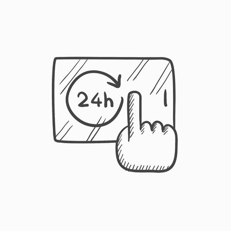 available: Available around the clock vector sketch icon isolated on background. Hand drawn Available around the clock icon. Available around the clock sketch icon for infographic, website or app.