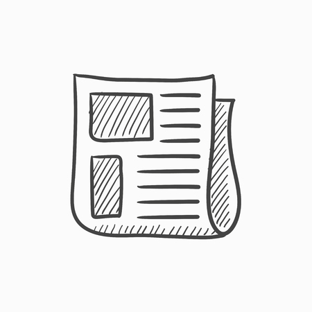 newsprint: Newspaper vector sketch icon isolated on background. Hand drawn Newspaper icon. Newspaper sketch icon for infographic, website or app.