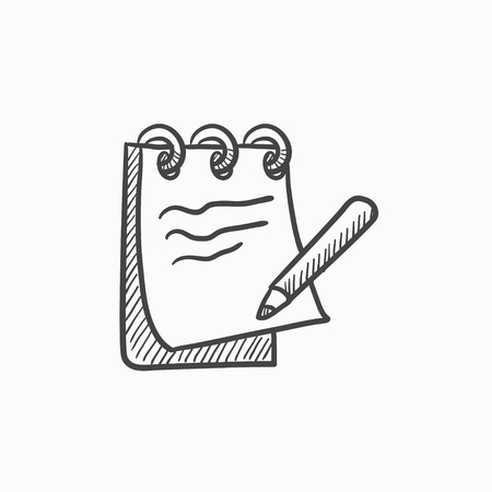 pad: Notepad with pencil vector sketch icon isolated on background. Hand drawn Notepad with pencil icon. Notepad with pencil sketch icon for infographic, website or app.
