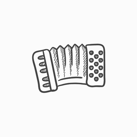Accordion vector sketch icon isolated on background. Hand drawn Accordion icon. Accordion sketch icon for infographic, website or app. Illustration