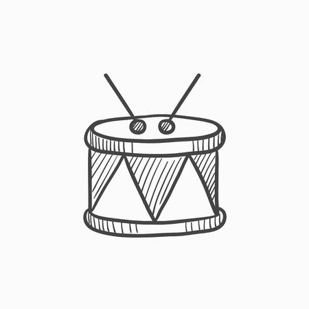 スティック ベクター スケッチ アイコン背景に分離されたドラムします。手が引きつって棒アイコン ドラム。スティックでドラムは、インフォ グラ  イラスト・ベクター素材