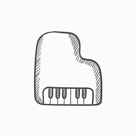 pianoforte: Piano vector sketch icon isolated on background. Hand drawn Piano icon. Piano sketch icon for infographic, website or app. Illustration
