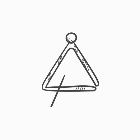 struck: Triangle vector sketch icon isolated on background. Hand drawn Triangle icon. Triangle sketch icon for infographic, website or app. Illustration