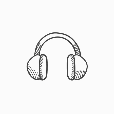 earpieces: Headphone vector sketch icon isolated on background. Hand drawn Headphone icon. Headphone sketch icon for infographic, website or app. Illustration