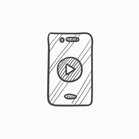 smartphone icon: Smartphone vector sketch icon isolated on background. Hand drawn Smartphone icon. Smartphone sketch icon for infographic, website or app.