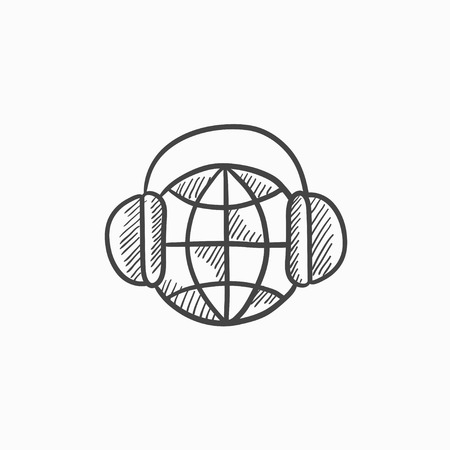 soundtrack: Globe in headphones vector sketch icon isolated on background. Hand drawn Globe in headphones icon. Globe in headphones sketch icon for infographic, website or app.