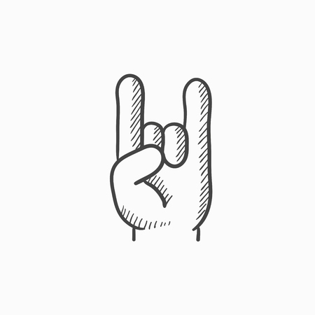 forefinger: Rock and roll hand sign vector sketch icon isolated on background. Hand drawn Rock and roll hand sign icon. Rock and roll hand sign sketch icon for infographic, website or app.