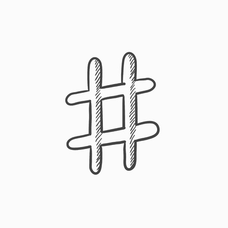 Hashtag Symbol Vector Sketch Icon Isolated On Background Hand