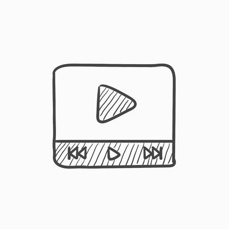 Lecteur vidéo vecteur croquis icône isolé sur fond. Hand drawn vidéo joueur icône. Lecteur vidéo icône esquisse pour infographie, site Web ou application. Banque d'images - 61245401