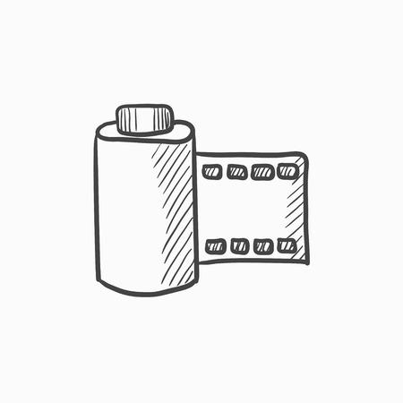 Pellicule vecteur croquis icône isolé sur fond. Hand drawn Pellicule icône. Caméra rouleau icône esquisse pour infographie, site Web ou application. Banque d'images - 61245425