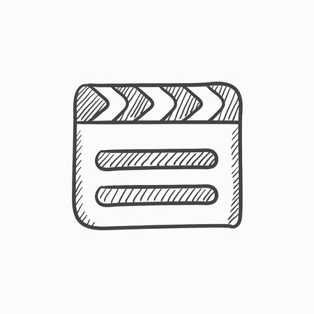 flick: Clapboard vector sketch icon isolated on background. Hand drawn Clapboard icon. Clapboard sketch icon for infographic, website or app.