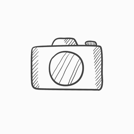 Camera vector sketch icon isolated on background. Hand drawn Camera icon. Camera sketch icon for infographic, website or app. Ilustrace