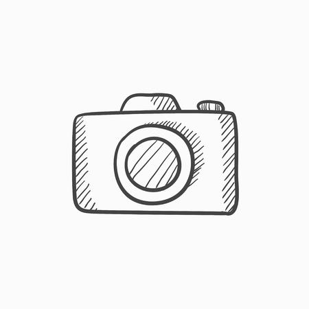 Camera vector sketch icon isolated on background. Hand drawn Camera icon. Camera sketch icon for infographic, website or app. Vectores