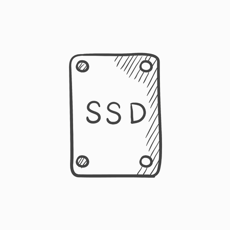 solid state drive: Solid state drive vector sketch icon isolated on background. Hand drawn Solid state drive icon. Solid state drive sketch icon for infographic, website or app.