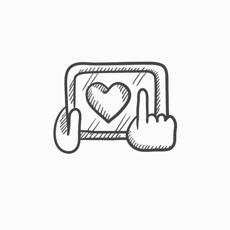 hand touch: Hands holding tablet with heart sign vector sketch icon isolated on background. Hand drawn Hands holding tablet with heart sign icon. Hands holding tablet sketch icon for infographic, website or app. Illustration