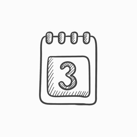 Calendar vector sketch icon isolated on background. Hand drawn Calendar icon. Calendar sketch icon for infographic, website or app. Illusztráció
