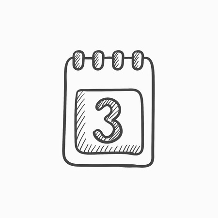 Calendar vector sketch icon isolated on background. Hand drawn Calendar icon. Calendar sketch icon for infographic, website or app. Stock Illustratie