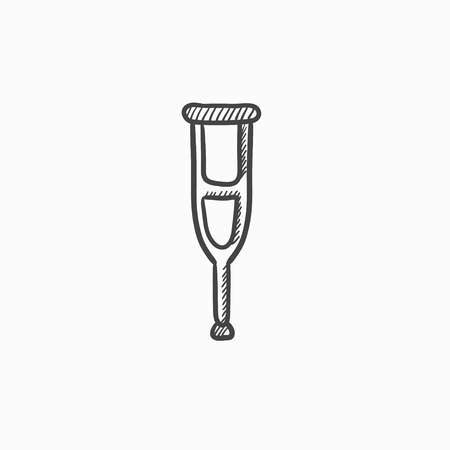 underarm: Crutch vector sketch icon isolated on background. Hand drawn Crutch icon. Crutch sketch icon for infographic, website or app.