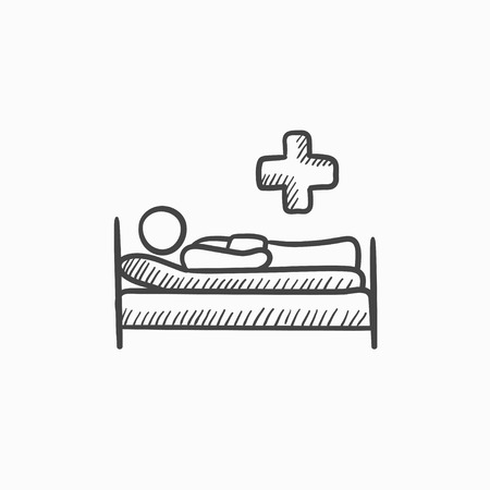 lying in bed: Patient lying on bed vector sketch icon isolated on background. Hand drawn Patient lying on bed icon. Patient lying on bed sketch icon for infographic, website or app.